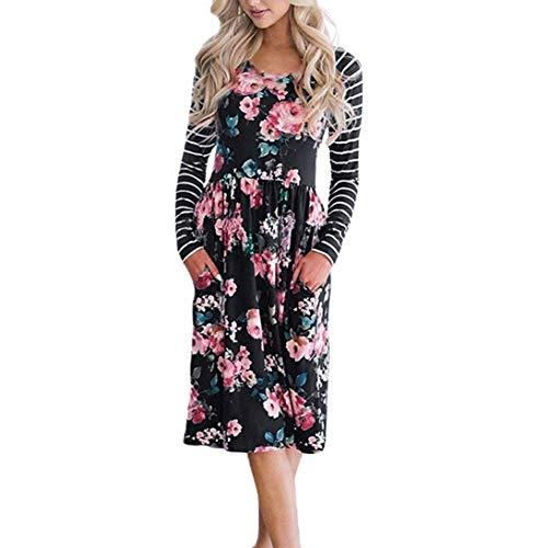 Faldas Largas Mujer Verano Rayas, Zolimx Mujeres de Manga Larga Una Línea de Ropa de Impresión Floral Suelta Vestido de Fiesta Casual Vestido Negro