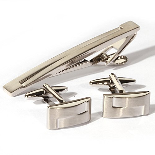 Digabi Platinum Plated Rectangular Unbalanced Glossy Cufflinks and Tie Clip Set with Nice Box - Rectangular Cufflinks
