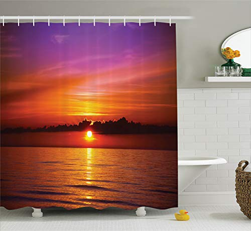 Ambesonne Ocean Shower Curtain, Romantic Sunset on The Beach Sun Rays Reflection on the Sea Colorful Sky Picture, Cloth Fabric Bathroom Decor Set with Hooks, 70 Inches, Orange Purple (Purple And Orange Curtains)