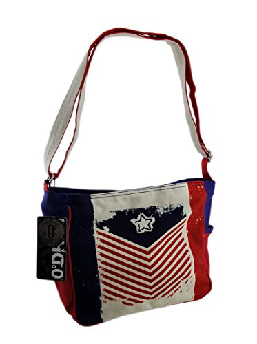 Polyester/Cotton Womens Cross Body Bags Red White & Blue Chevron Stripe Flag Adjustable Crossbody Bag 11.5 X 10 X 4.5 Inches ()