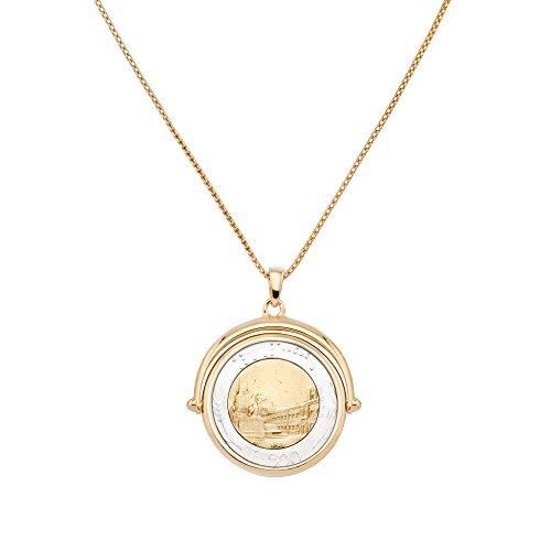 MiaBella Genuine Italian 500 Lira Coin Flip Pendant Necklace in 18K Gold in Sterling Silver. 18