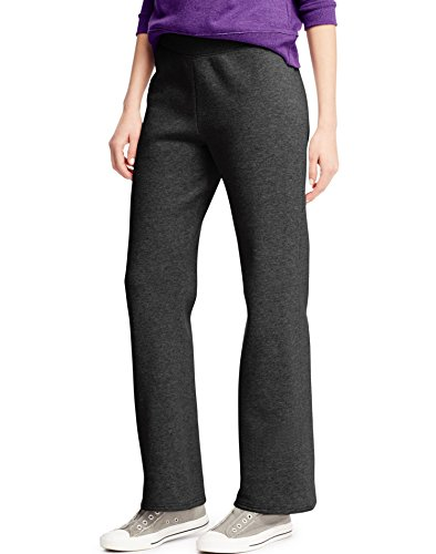 Hanes ComfortSoft Women's Petite Open Bottom Leg Sweatpant_Ebony_M (50 Open Bottom Sweatpants)