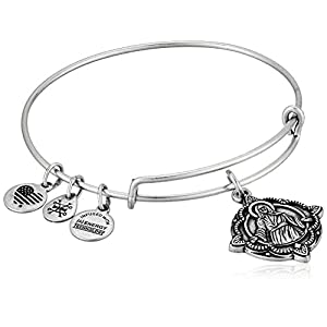 Alex and Ani Divine Guides Expandable Bangle Bracelet for Women, Jesus Engraved Charm, 2 to 3.5 in