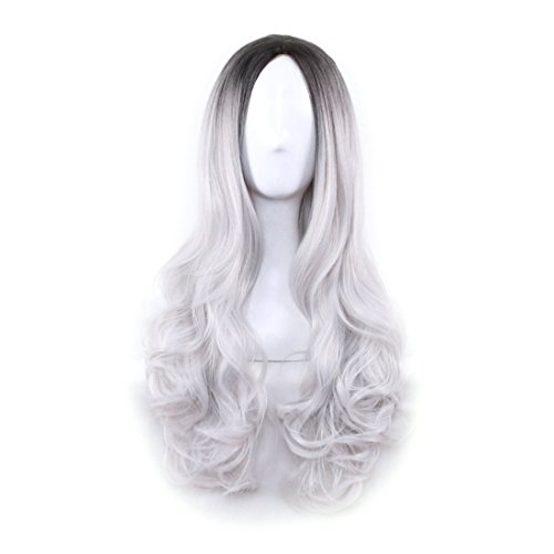 Price comparison product image Wigood 26 inch Cosplay Wig Ombre Grey Long Curly Hair with Dark Roots Wig with Free Wig Cap for Women(Ombre Grey)