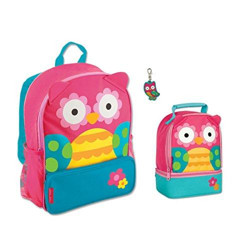 Stephen Joseph Girls Sidekick Owl Backpack  Lunch Pal And Zipper Pull Set