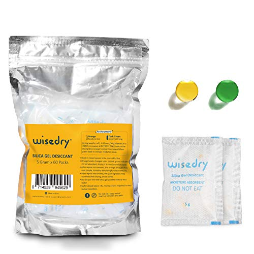 wisedry 5 Gram [60 Packs] Silica Gel Packets Rechargeable Desiccant Pouches with Color Indicating Beads Reusable Moisture Absorbers Bags for Gun Safes Closet Tools Storage Food Grade