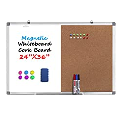 36 x 24 Inches Magnetic Whiteboard and C...