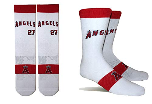 PKWY by Stance Men's 2-Pack Los Angeles Angels & Mike Trout #27 Player Uniform Socks (X-Large)