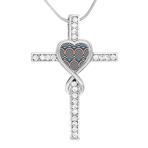 (KBogirl Chiffon Spiral Love Heart Cross Necklace Religious Belief Jewelry Enamel Pendant Necklace)