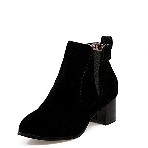 Heels Pull Round Toe Womens Boots AllhqFashion Kitten Black On Frosted Solid Closed qX8Uwga