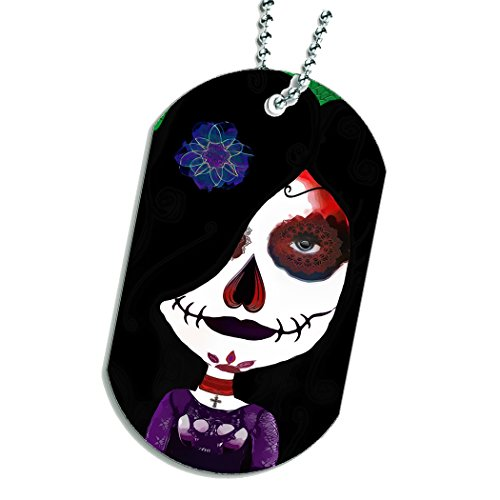 Sugar Skull Gothic Girl Dog Tag