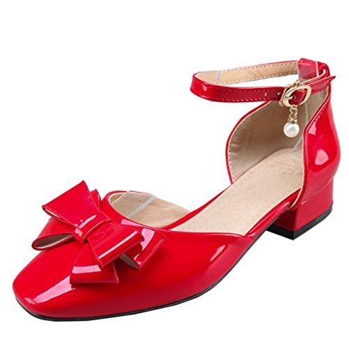 TAOFFEN Women Ankle Strap Sandals Red