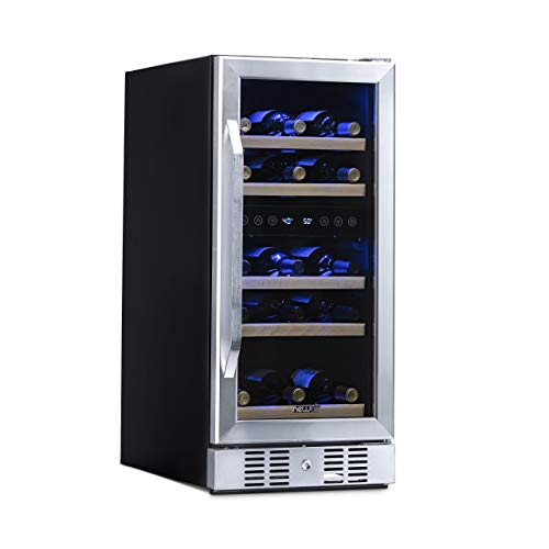 - NewAir Dual Zone Built-In Wine Cooler and Refrigerator, 29 Bottle Capacity Fridge with Triple-Layer Tempered Glass Door, AWR-290DB