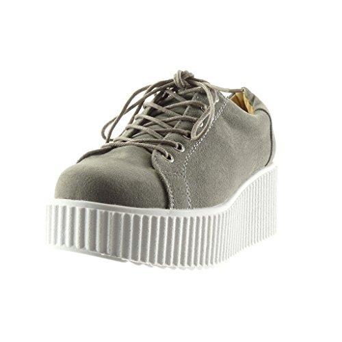 Scarpe Coccodrillo Zeppe Zeppa Sneaker 6 Tacco Moda Pelle Serpente Angkorly Donna Grigio cm Piattaforma di dtw8Uaqx4n