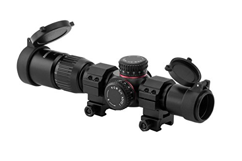 Monstrum Tactical G2 1-4x24 First Focal Plane (FFP) Rifle Scope with Illuminated BDC Reticle (Black) (Best Ar 15 Package)