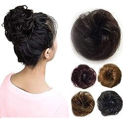 Vowinlle 100% Human Hair Scrunchies(Natural Black),Curly Messy Natural Hair Bun, Black Hair Bun Extensions for Fashon-ElegantWomen