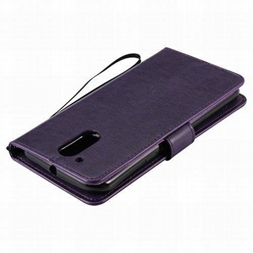 Custodia Motorola Moto G4 Cover Case, Ougger Alberi Gatto Printing Portafoglio PU Pelle Magnetico Stand Morbido Silicone Flip Bumper Protettivo Gomma Shell Borsa Custodie con Slot per Schede (Porpora)