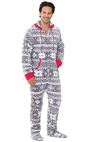 PajamaGram Fun Onesie for Men - Christmas Onesie Men, Warm Fleece, Gray, LG ()