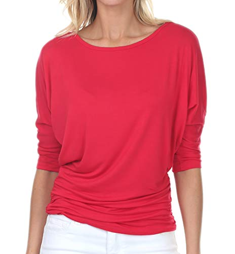 k 3/4 Sleeve Drape Dolman Top with Side Shirring Red 2XL ()