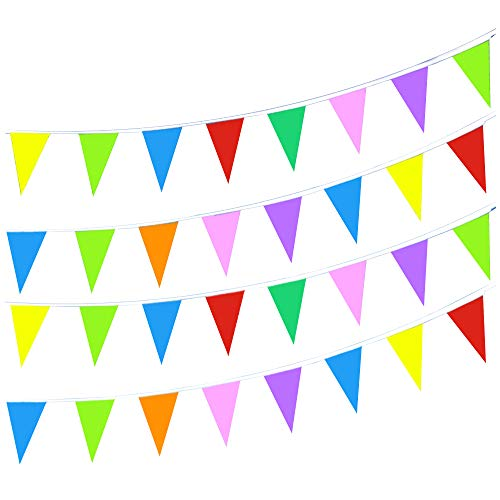 LoveVC 750 Feet Multicolor Pennant Banner String Flags Banners,Outdoor Party Decorations Supplies for Carnival,Grand Openning,Wedding,Kids Birthday,Sports Events Festivals - Party String Pennant