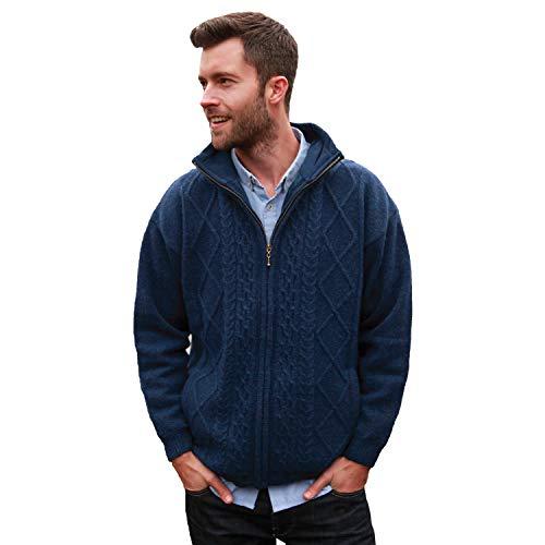 (Carraig Donn Mens Wool Sweater, 100% Pure Irish Wool, Made In Ireland, Blue, XL)