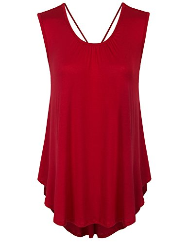 KOGMO Womens Solid Short Sleeve Tunic Top With Open Back Spaghetti Strap Tie-L-Red