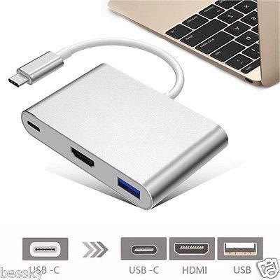 FidgetFidget Type C USB 3.1 to USB-C 4K HDMI USB3.0 3 in 1 Hub for Apple MacBook