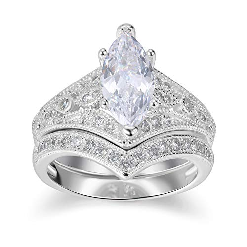 One Ring Love Marquise (Lateefah Bridal Ring Sets for Women - 2 Carat Big Marquise Cubic Zirconia Wedding Rings Set Size 6-9)