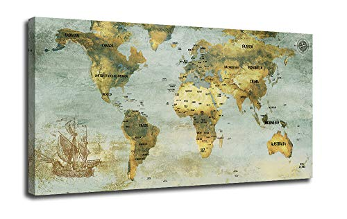 Arjun Canvas Wall D cor World Map Art Prints Vintage Old Framed One Panel 48 x24 Picture Prints, Blue Grey Map of The World Poster Large Size Framed for Home Office Living Room Decoration