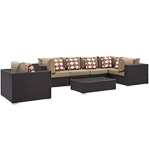 Convene 7 Piece Outdoor Patio Sectional Set -  Modway, EEI-2350-EXP-MOC-SET
