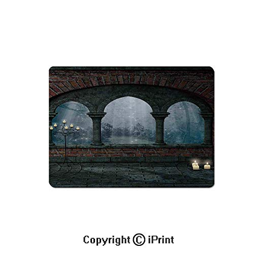 Gaming Mouse Pads, Medieval Castle at Night with Old Arch and Candles Middle Age Misty Image Non Slip Rubber Mousepad,7.1x8.7 inch,Blue Grey Red