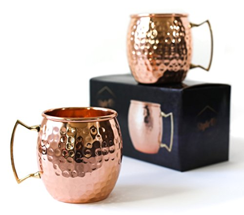Moscow Mule Mug By StyleUp: – Healthy pure solid drinking Copper mug with Handcrafted Hammered Finish And Brass Handle – set of 2 Stylish 16Oz Moscow Mule Mugs – Comes In Gift-Ready Box For Sale