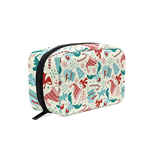 (HELVOON Chirstmas Hat Deer Snowman Pattern Cosmetic Bag Toiletry Travel Makeup Case Pouch Multi-function Organizer for)