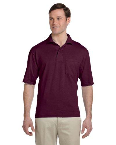 Jerzees Men's 2-Button Preshrunk Pocket Polo Shirt, Maroon, XX-Large 2 Pocket Button