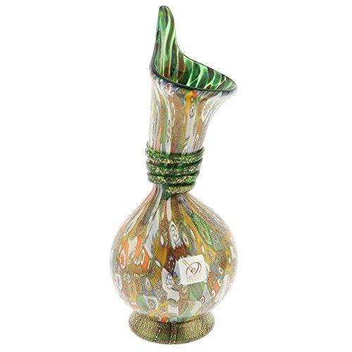 Murano Millefiori Gold Art Glass Calla Lily Vase - (Murano Gold Chandelier)