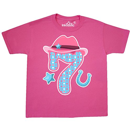 inktastic Seven With Cowgirl Hat Youth T-Shirt Youth Medium (10-12) Neon Pink