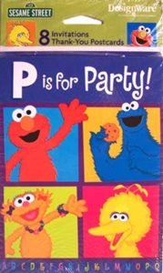 """Sesame Street """"P is for Party"""" Invitations - 8 Count"""