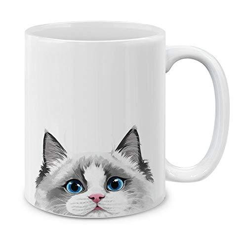 - MUGBREW White Silver Point Ragdoll Cat White Ceramic Coffee Mug Tea Cup, 11 OZ