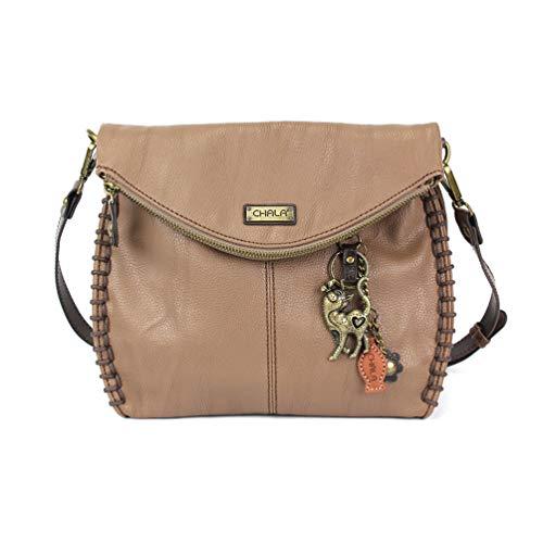 Chala Charming Crossbody Bag Shoulder Handbag With Flap Top and Zipper Brown (Metal Slim Cat)