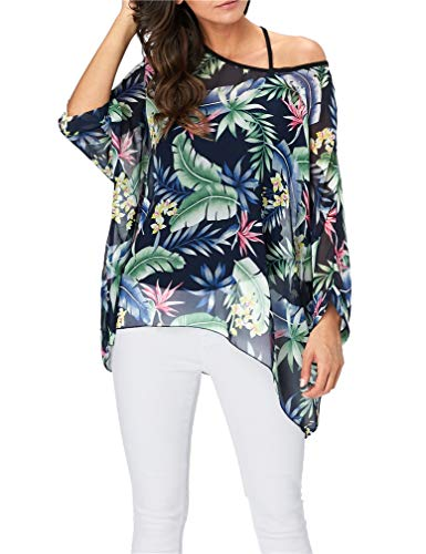 Vanbuy Womens Summer Tropical Hawaiian Beach Shirt Batwing Sleeve Top Chiffon Poncho Flowy Loose Sheer Blouse Z91-4330 -