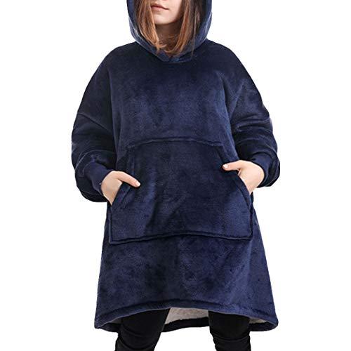 W-WENBING Sweatshirt met capuchon, draagbaar, zacht, pluizig, warm, comfortabel, oversized sweatshirt voor meisjes…