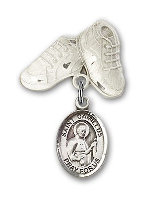 Sterling Silver Baby Badge with St. Camillus of Lellis Charm and Baby Boots Pin by Religious Obsession (Image #1)
