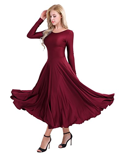 FEESHOW Women Adult Full Length Long Sleeves Loose Fit liturgical Praise Dance Dress Wine Red Small