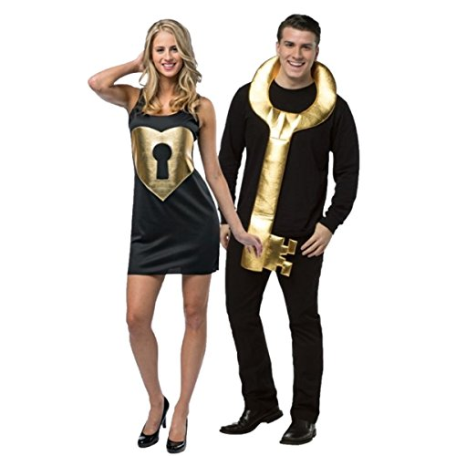 Key To My Heart - Lock & Key Adult Couples Costume - 2 Costumes in 1 Bag