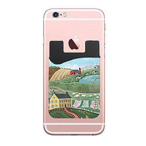 - Phone Card Holder Adhesive Stick-on Credit Card Wallet Phone Case Pouch Sleeve Pocket for Most of Smartphones(iPhone/Android/Samsung Galaxy) Folk Art Landscapes