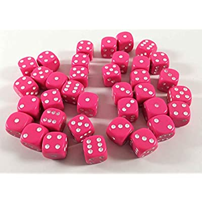 Chessex: d6 12mm Opaque 36 Dice Set: Pink and White: Toys & Games