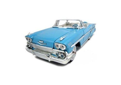 1958 Chevrolet Impala Convertible Light Blue Timeless Classics 1/18 Diecast Model Car by Motormax - Impala Chevrolet Blue