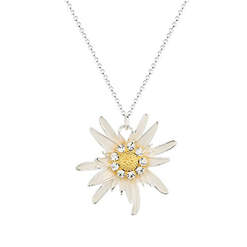 (luomart Fashion Flower Edelweiss Pendant Necklace Silver&18K Gold Plated Two Tone ...)