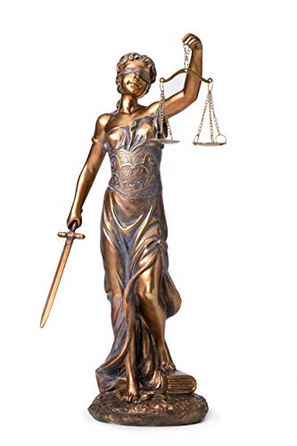 Joystarcraft Blind Lady Justice Resin Statue 11 Inch Sculpture Electroplated Figurine Lawyer Home Decor Lawyer Gift