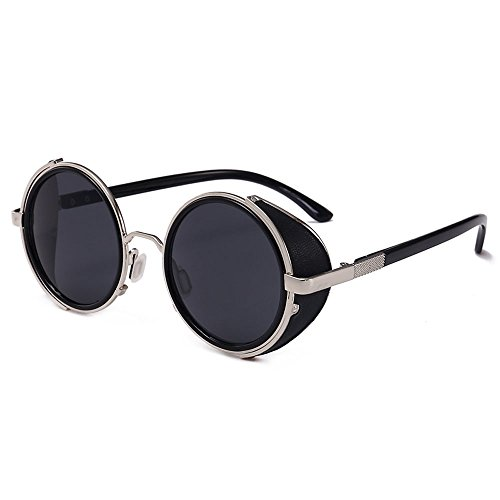 Classic Retro Steampunk Sunglasses Cyber Round Clubmaster Sunglasses UV400 - Blinders Glasses For Side